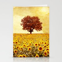 sunflowers Stationery Cards featuring lone tree & sunflowers field by Viviana Gonzalez