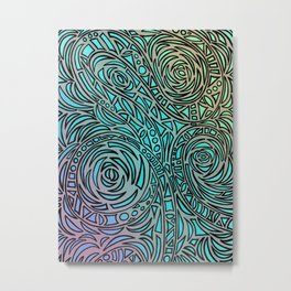 How the river flows - Zentangle Art Metal Print