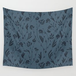 Wild Cosmos, Denim Blue Wall Tapestry