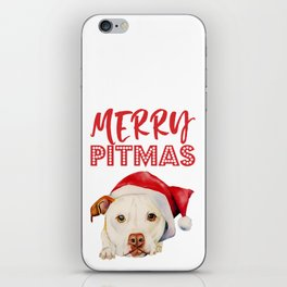 Christmas Pit Bull Terrier Dog with Santa Hat iPhone Skin