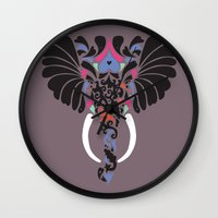 asian Wall Clocks featuring Asian Elephant by Paula McGloin