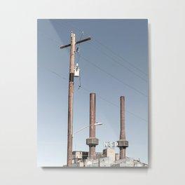 Power Lines and Smoke Stacks Metal Print
