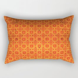 Orange Geometric Traditional Moroccan Pattern Artwork. Rectangular Pillow