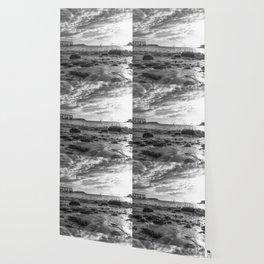 Magnolia Pier Black and White Wallpaper