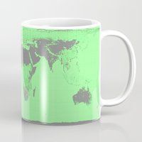 world map Mugs featuring World Map : Gall Peters Seafoam Green by 2sweet4words Designs