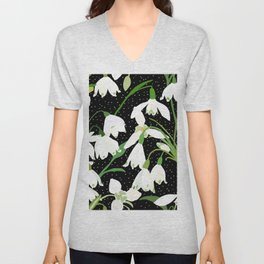 Snowdrop Floral Unisex V-Neck