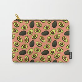 Dancing Millennial Avocados on Peach, Ditsy print Carry-All Pouch