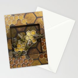 Hexagons and Honeybees Stationery Cards