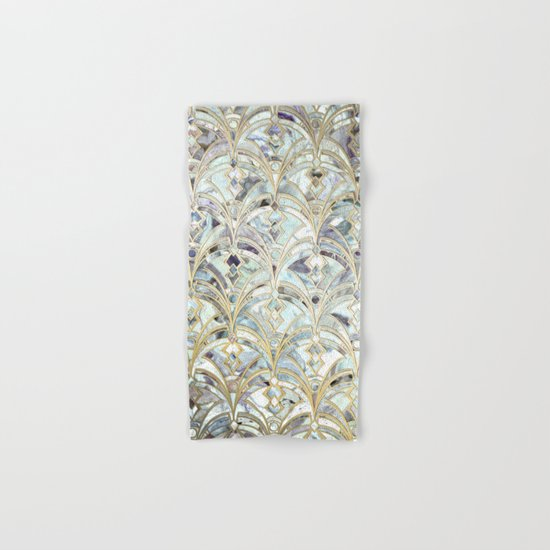 Pale Bright Mint and Sage Art Deco Marbling Hand & Bath Towel