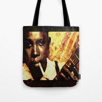 robert farkas Tote Bags featuring Robert by Darla Designs