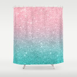Salmon Pink To Turquoise Blue Sparkling Glitter Shower Curtain