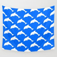 dolphins Wall Tapestries featuring Dolphins by The Wellington Boot