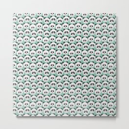 Green Panda Faces Pattern Metal Print
