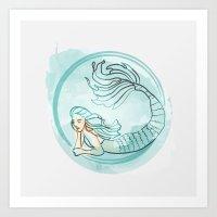 Mermaid in a fish bowl Art Print