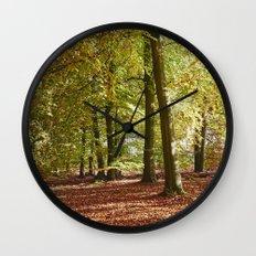 Autumnal beech trees in a natural woodland. Norfolk, UK. Wall Clock