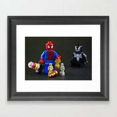 Spidey plays with Lego Framed Art Print