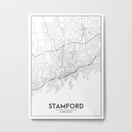Minimal City Maps - Map Of Stamford, Connecticut, United States Metal Print