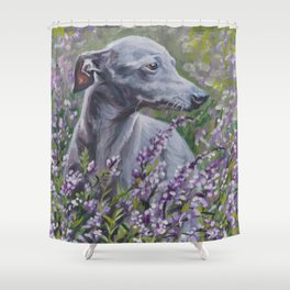 Italian Greyhound dog art from an original painting by L.A.Shepard Shower Curtain