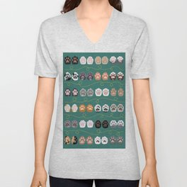 Toe Beans on Green / Cat Paws Unisex V-Neck