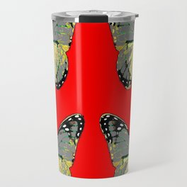 CHARCOAL GREY WESTERN BUTTERFLIES ON RED Travel Mug