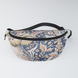 Design for Windrush by William Morris 1883 // Romanticism Blue Red Yellow Color Filled Floral Design Fanny Pack