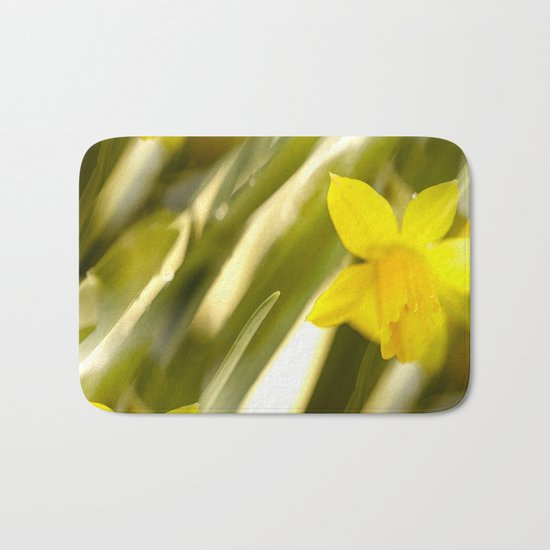 Spring atmosphere with yellow narcissus Bath Mat
