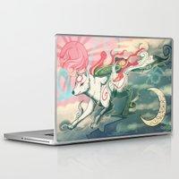 okami Laptop & iPad Skins featuring Okami Amaterasu by Owlapin