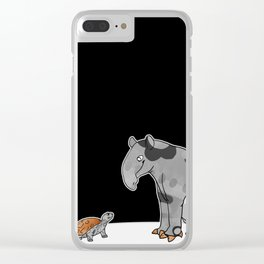 Tapir meets Turtle, Cute Animal Illustration, Black & White with Copper Metallic Accent Funny Turtle Clear iPhone Case