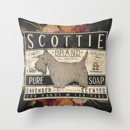Scottie Scottish Terrier Dog Soap Label Throw Pillow