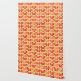 Retro Leaves Pattern Burnt Orange Wallpaper