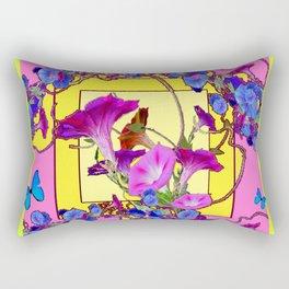 Blue Morning Glories Butterfly Yellow Patterns Pink Art Rectangular Pillow