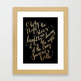 O holy night in gold calligraphy and black Framed Art Print