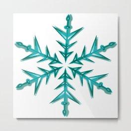 Minimalistic Aquamarine Snowflake Metal Print