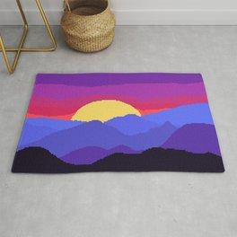 Pixel mountains neon sunset 8-bit Rug