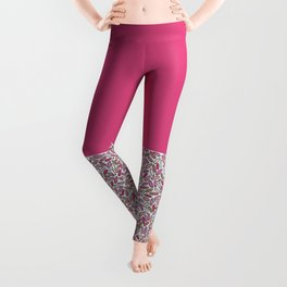 Pink, magenta, rose and gold illustrated Confetti Leggings