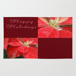 Mottled Red Poinsettia 1 Ephemeral Happy Holidays Q10F1 Rug