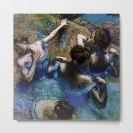 Blue Dancers Portrait by Edgar Degas Metal Print