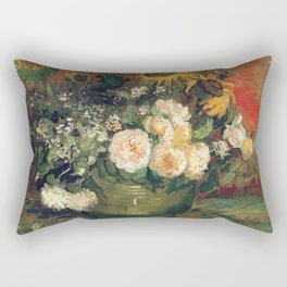 Vincent Van Gogh - Still Life with Roses and Sunflowers, 1886 Rectangular Pillow