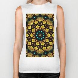 Bright Yellow Mosaic Symmetry Mandala Biker Tank