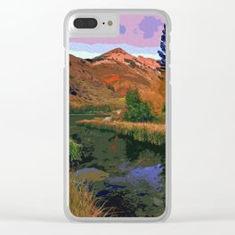 A peaceful mountain view Clear iPhone Case
