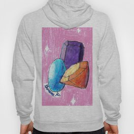 Mixed Media Gemstones I Illustration Cartoon Art Purple Orange Blue #BuyArt Hoody