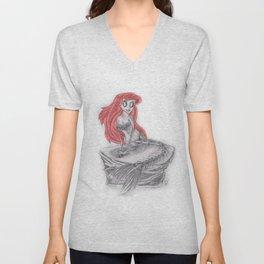 If the little mermaid was drawn by Tim Burton Unisex V-Neck