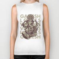 ganesh Biker Tanks featuring Ganesh by _MattVector