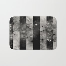 Stripes In Space - Black and white panel effect space scene Bath Mat