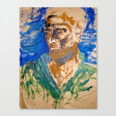 Man with blue background Canvas Print