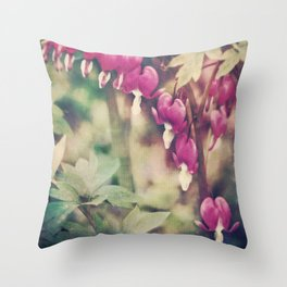 Dancing Bleeding Hearts Throw Pillow