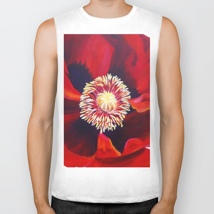 Big Red Poppy Biker Tank