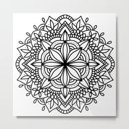 Black Mandala Geometric Ornate Design Metal Print