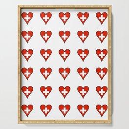flag Switzerland 3-,Swiss,Schweizer, Suisse,Helvetic,zurich,geneva,bern,godard,heidi Serving Tray