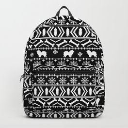Chow Chow fair isle christmas pattern minimal ugly sweater dog breed black and white Backpack